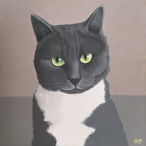 Original Acrylic Painting of a Grey and White Cat by Amanda Gosse