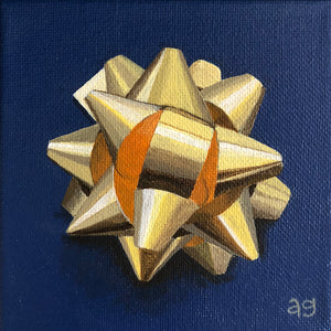Original Acrylic Painting of a Gold Gift Bow by Amanda Gosse