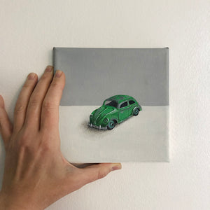 Original Oil Painting of a Green VW Beetle Toy Car by Amanda Gosse