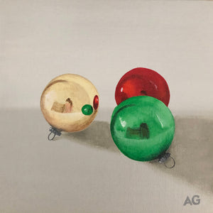 Three Baubles original acrylic painting by Amanda Gosse