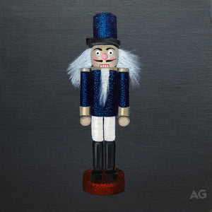Nutcracker Soldier Christmas tree decoration original acrylic painting by Amanda Gosse