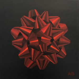 Red Gift Bow original acrylic on canvas panel painting by Amanda Gosse