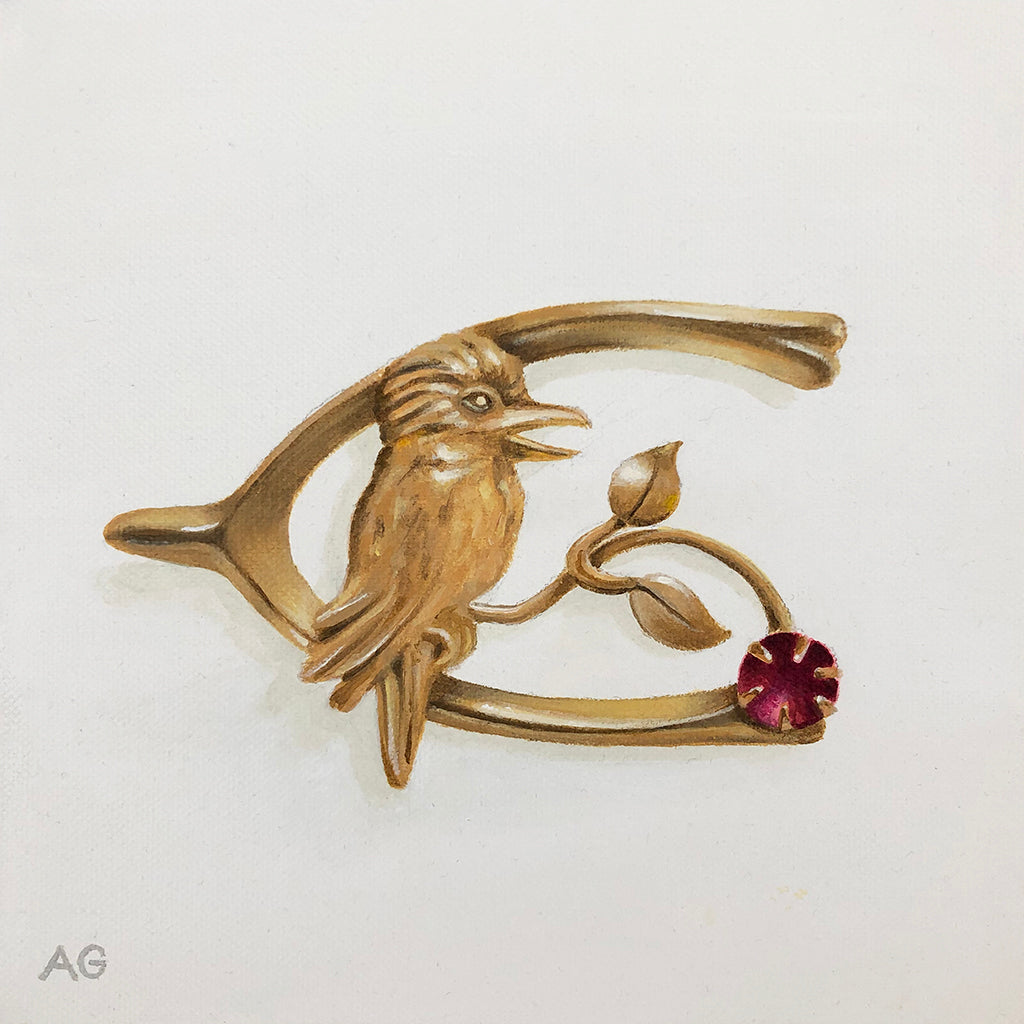 Original painting by Amanda Gosse of an antique Australian piece of jewellery with kookaburra and ruby.