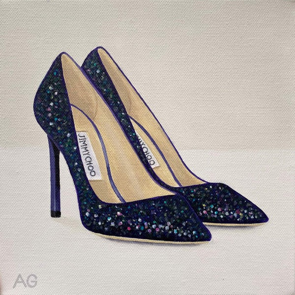 A pair of designer high heeled Romy glitter pumps by Jimmy Choo. Original acrylic on canvas painting by Amanda Gosse