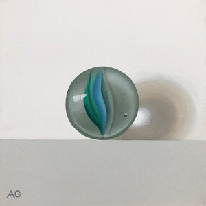 Blue and green glass marble original acrylic on canvas painting by Amanda Gosse