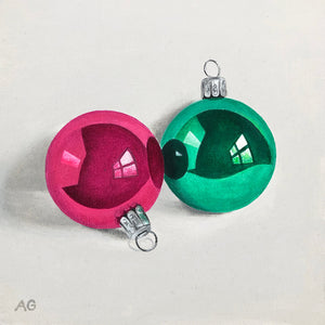 Pink and green Christmas Baubles is an original acrylic on canvas painting of tree decorations by Amanda Gosse