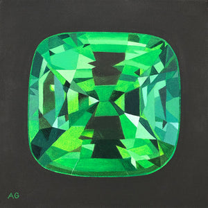 Tsavorite is an original acrylic on canvas painting of a green garnet by Amanda Gosse