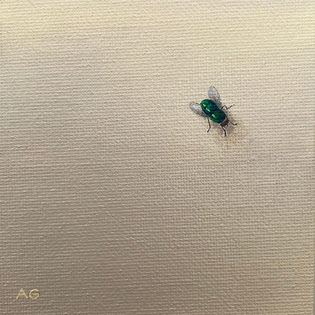 Fly Guy small acrylic on canvas painting of a green fly on a wall by Amanda Gosse