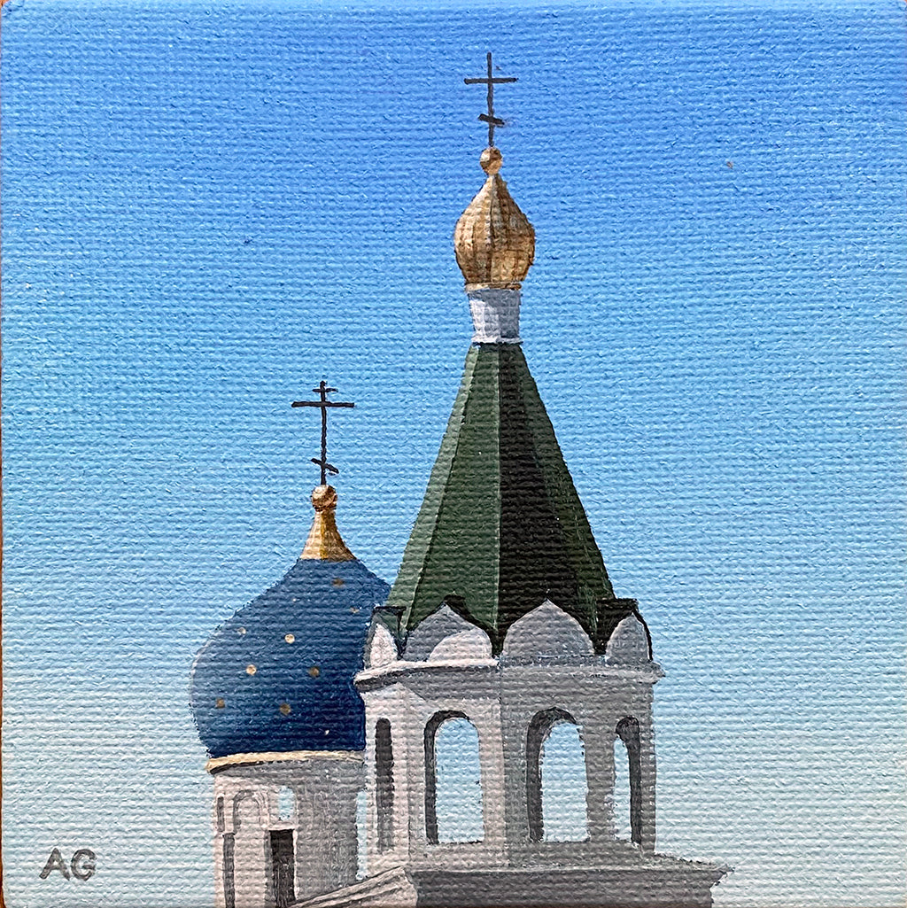 Miniature painting of Russian Orthodox Church of St Nicholas Adelaide Australia by Amanda Gosse