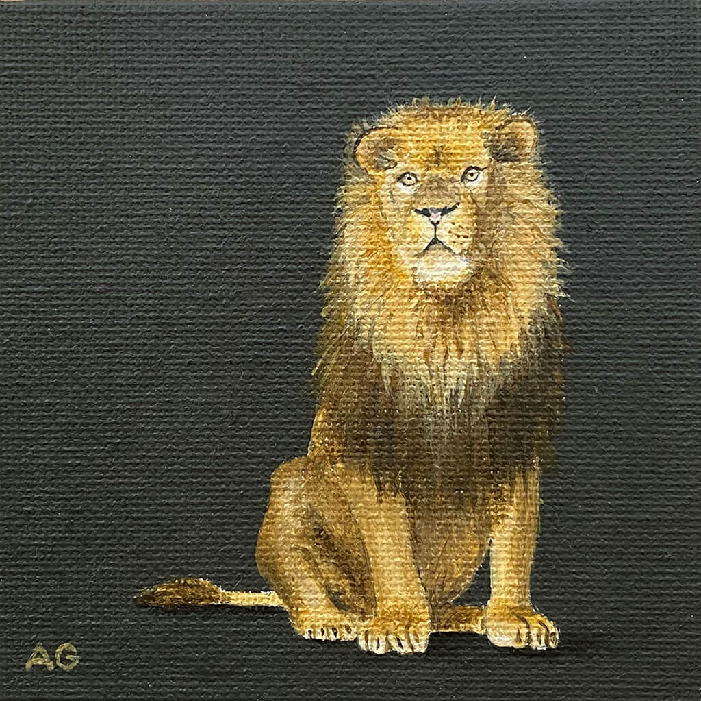 Miniature original painting of a lion acrylic on canvas board by Amanda Gosse