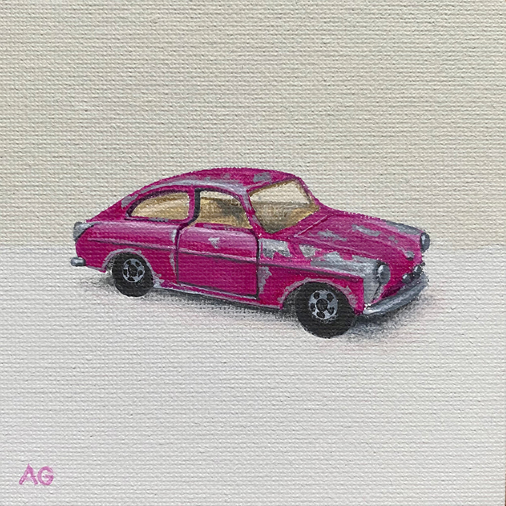 Miniature Artwork of a pink toy car by Amanda Gosse acrylic on canvas board