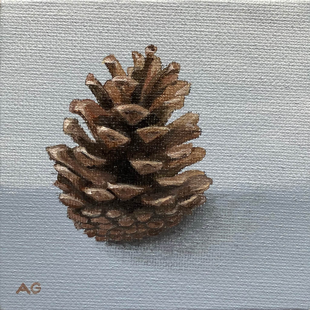 Pine Cone Miniature Painting acrylic on canvas board by Amanda Gosse