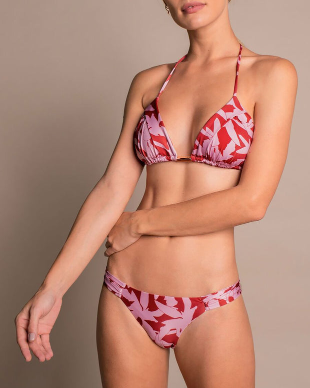 Red & Pink Floral Triangle Bikini Top