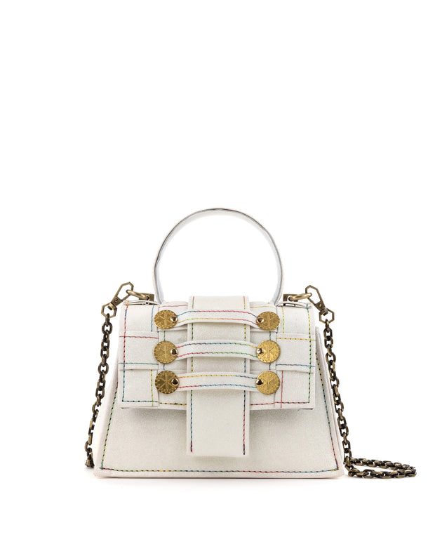 Off-White Iridescent Mini Trapezoid Bag
