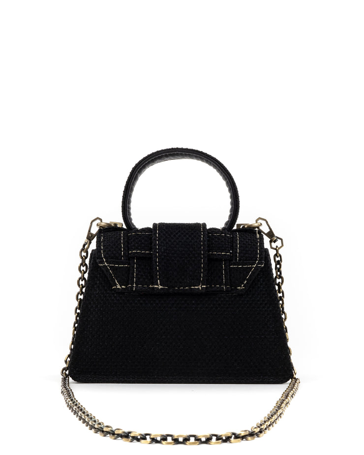 KOORELOO | BLAIZ | Black Tweed Mini Trapezoid Bag