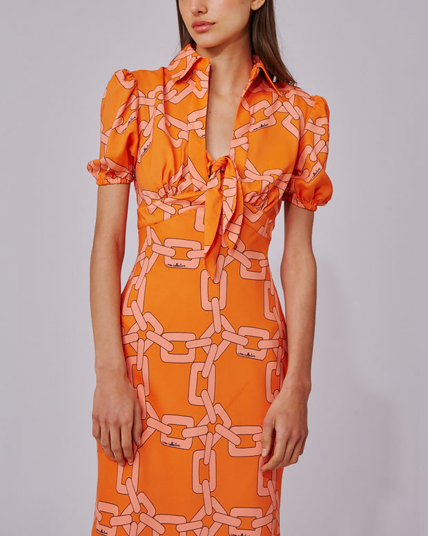 Tangerine Printed Morning Dress