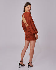 Copper Balloon Sleeve Mini Dress
