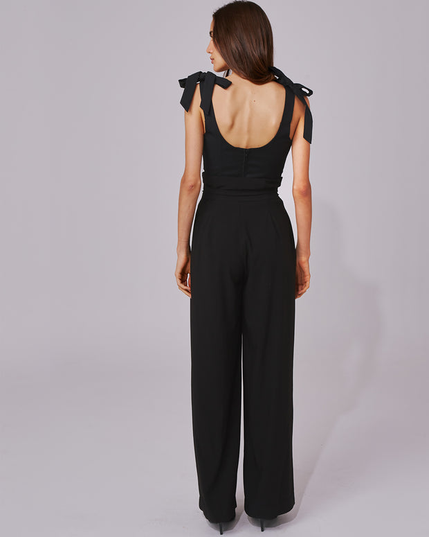 C/MEO COLLECTIVE | BLAIZ | Black Wide Leg Paperbag Trousers