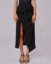 Black Soaked Midi Skirt
