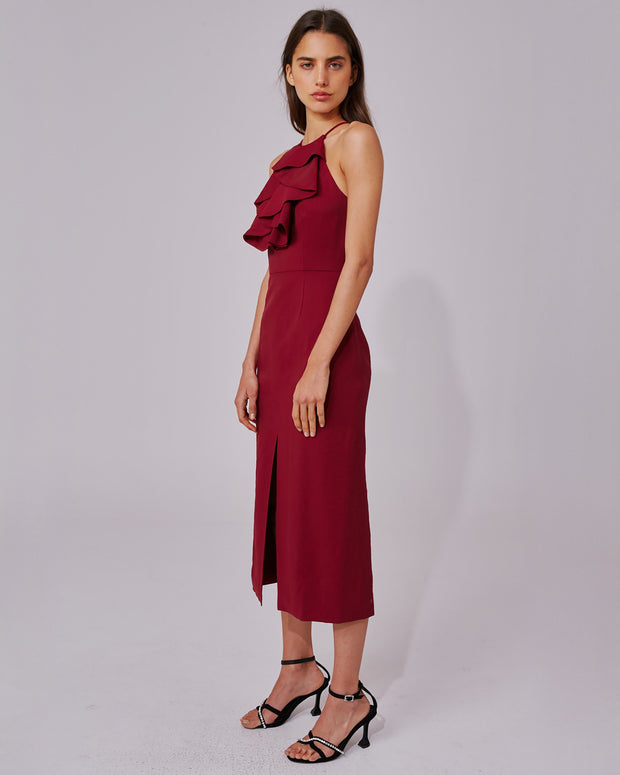 Burgundy Halterneck Ruffle Dress