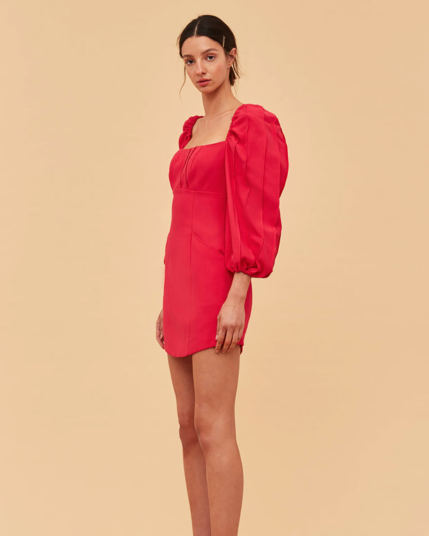 C/MEO COLLECTIVE | BLAIZ | Fuchsia Mini Puff Sleeve Dress