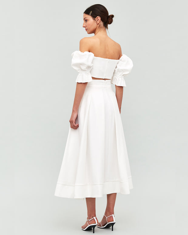C/MEO COLLECTIVE | BLAIZ | Ivory Pleated High Waisted Skirt