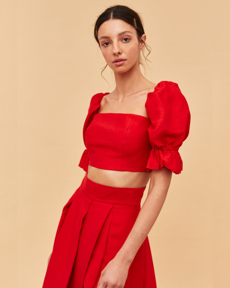 C/MEO COLLECTIVE | BLAIZ | Red Puff Sleeve Crop Top