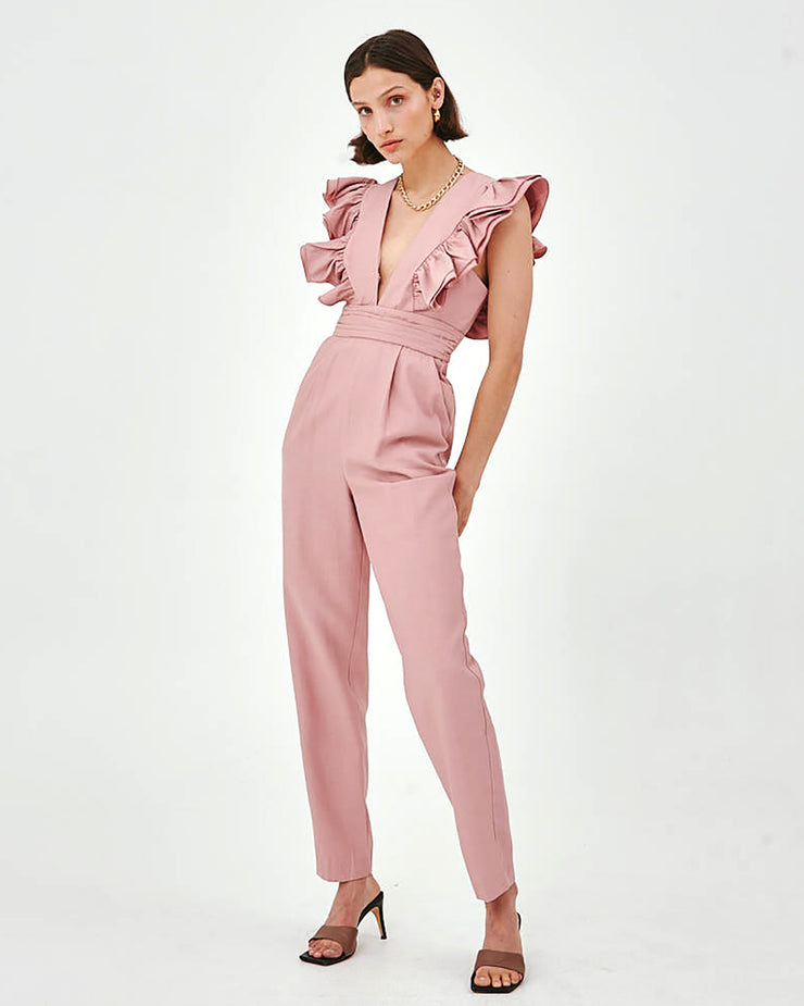 C/MEO COLLECTIVE | BLAIZ | Pink Ruffled Musk Amplify Jumpsuit