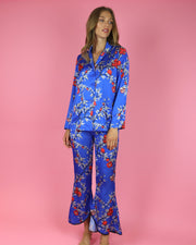 Blue Pomegranate Print Trousers