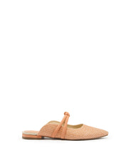 AREZZO | BLAIZ | Peach Pink Canvas Mules Leather Strap Pointed Flats Raffia