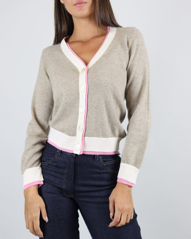 JUMPER 1234 | BLAIZ | CASHMERE BEIGE CREAM LIGHT BROWN PINK CARDIGAN