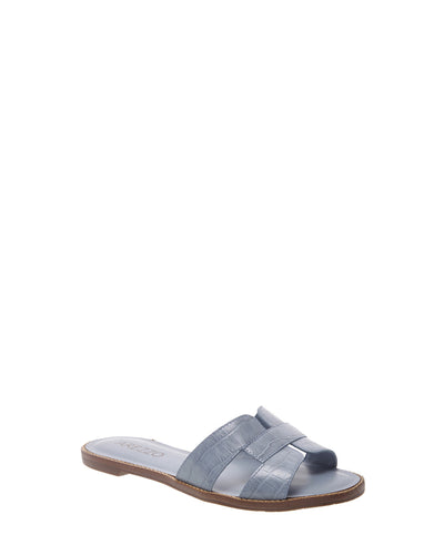 Light Blue Croc Embossed Sandals