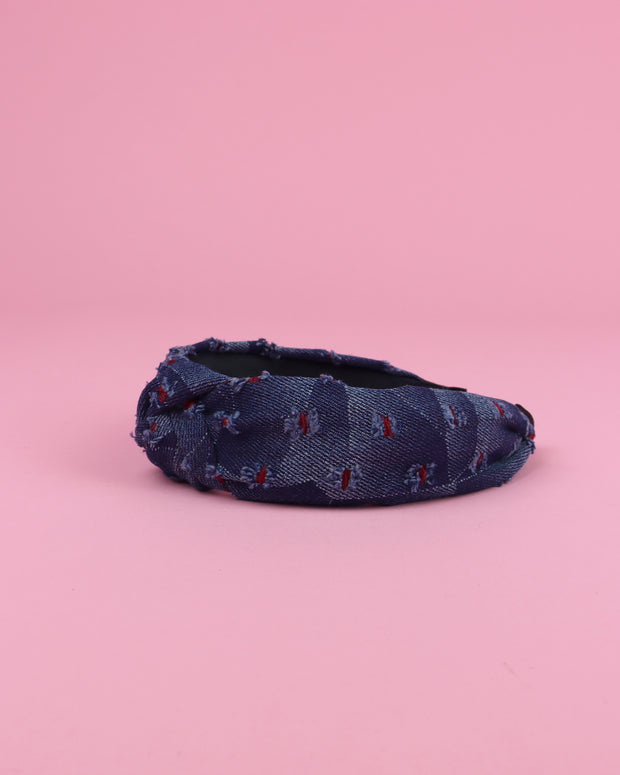 BLAIZ | 227 | Red Details Denim Headband