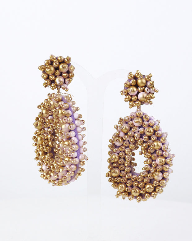 Lilac & Gold Beaded Earrings