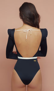 Black Agnes Frill Shoulder Swimsuit