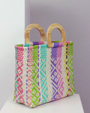 OAXACA | BLAIZ | Abril Multicolour Wooden Handle Woven Tote