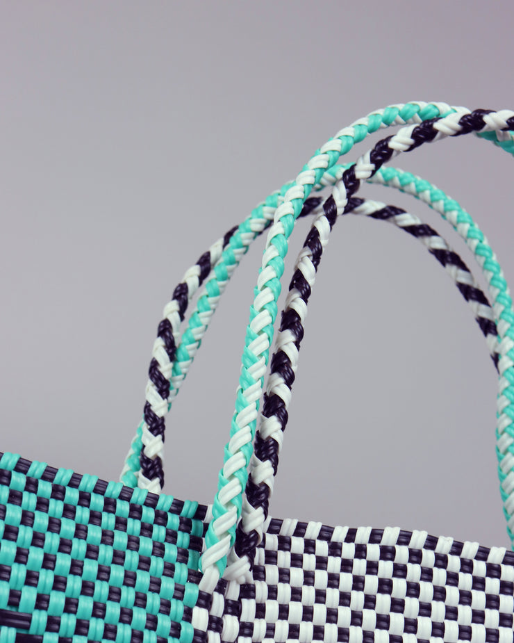 OAXACA | BLAIZ | Rebecca Black, Turquoise & White Large Woven Tote Bag