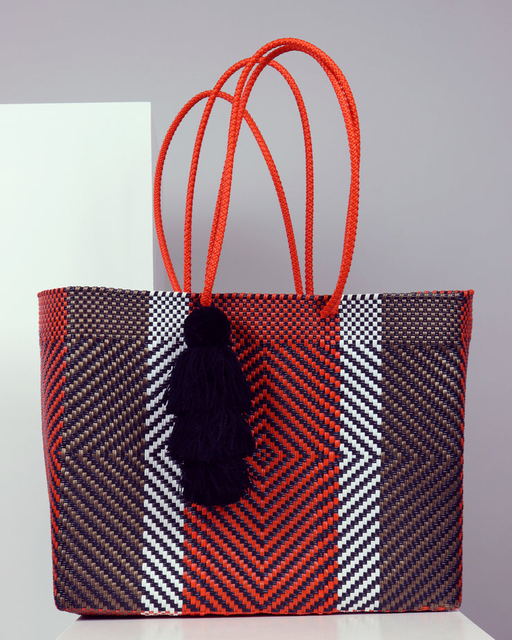 OAXACA | BLAIZ | Marta Orange, Black & White Large Woven Tote Bag