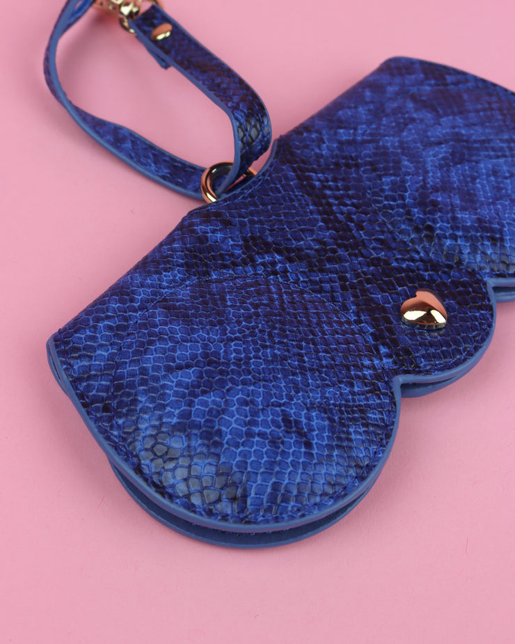 Blue Snake Print Sunglasses Case