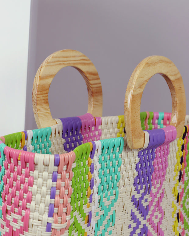 Abril Wooden Handle Woven Tote