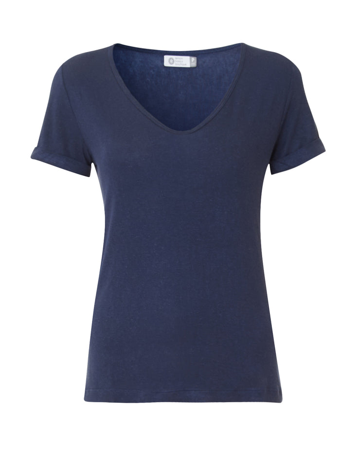 Blue Linen Blend Short Sleeve T-Shirt