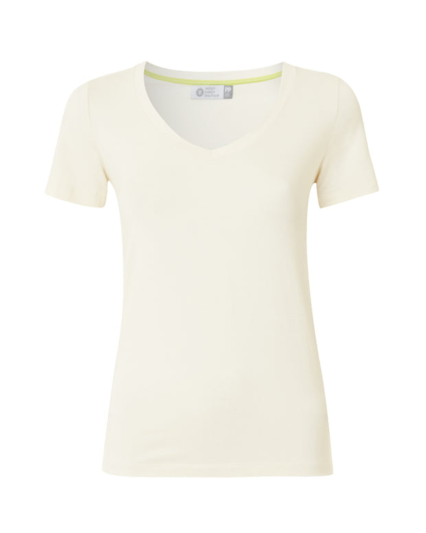 Cream Short Sleeve Fitted T-Shirt