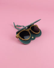 Green Snake Print Sunglasses Case