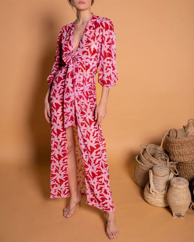 Red & Pink Puff Sleeves Kaftan