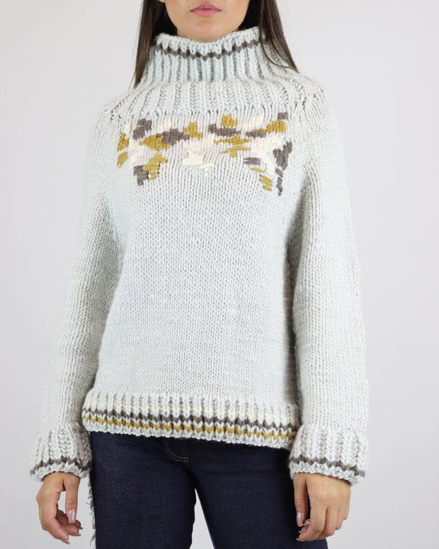 Grey Hand-Knit Turtle Neck Jumper