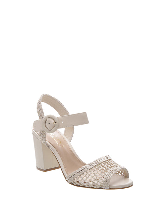 White Rattan Mid Heel Sandals