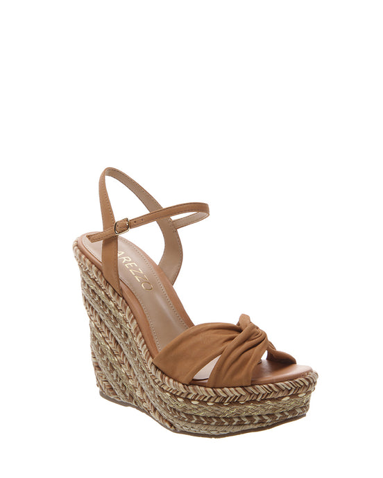 Tan Suede Braided Wedges