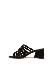 AREZZO | BLAIZ | Black Strappy Mules Block Heel Suede Finish