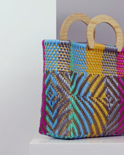OAXACA | BLAIZ | Mía Multicolour Wooden Handle Woven Tote