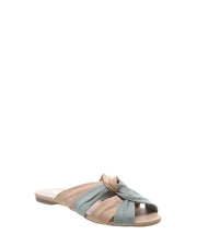 AREZZO | BLAIZ | Blue Nude Knot Leather Sandals Suede Plaited Flats Mules